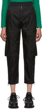 Black Gabardine Zip Trousers