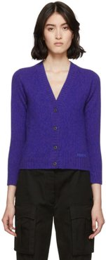 Purple Wool Cropped Cardigan