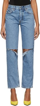 Blue Helena High-Rise Straight Distressed Jeans