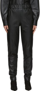Black Faux-Leather Pull-On Trousers