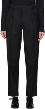 Black Summer Wool Pleated Trousers