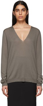 Grey Soft V-Neck Sweater