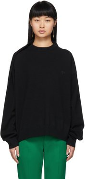 Black Wool Pinched Shoulder Sweater