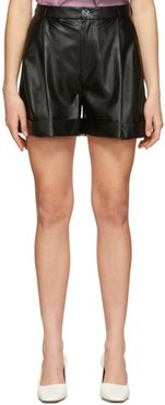 SSENSE Exclusive Black Faux-Leather Isabelle Pleated Shorts