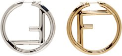 Gold and Silver F is Fendi Earrings