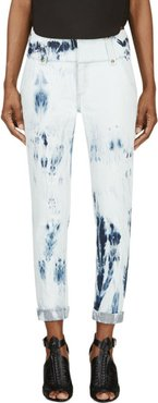 Blue Bleached Denim Cropped Jeans