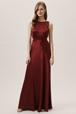 Alexia Dress In Bordeaux - Size: Xs
