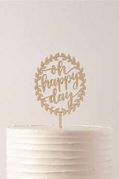 Oh Happy Day Cake Topper In Brown