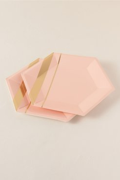 Hexagon Large Paper Plates In Pink - Size: All