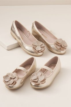 Nina Estela Flower Girl Flats In Taupe - Size: Y4