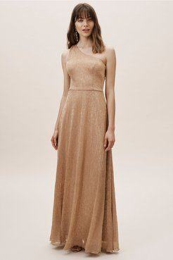 Midas Dress In Gold/copper - Size: 6