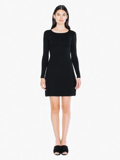Ponte Long Sleeve Mini Dress in Black, Nylon/Spandex