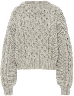 Aran Cropped Wool Cable-Knit Sweater