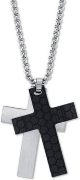 "Silver and Black Double Cross Pendant Necklace In Stainless Steel, 24"" Chain"