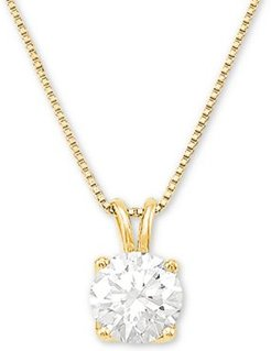 """Lab Grown Diamond Solitaire 18"""" Pendant Necklace (1 ct. t.w.) in 14k White Gold"""
