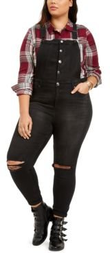 Trendy Plus Size Ripped Skinny Overalls