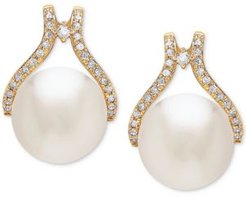 Cultured White Ming Pearl (12mm) & Diamond (1/3 ct. t.w.) Stud Earrings in 14k Gold