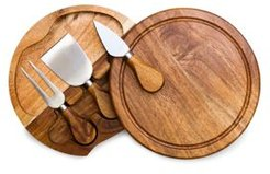 Toscana by Picnic Time Acacia Brie Cheese Cutting Board & Tools Set