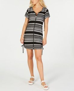 Ibiza Striped Hoodie Dress Cover-Up Women's Swimsuit