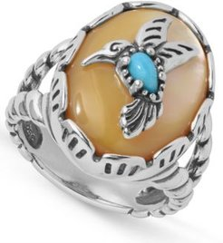 Turquoise Hummingbird Ring in Sterling Silver