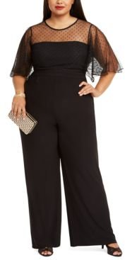 Plus Size Illusion-Trim Wide-Leg Jumpsuit