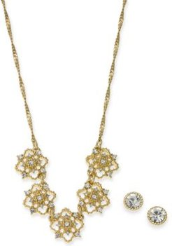 "Gold-Tone Crystal Mini Clover Statement Necklace & Stud Earrings Boxed Set, 17"" + 2"" extender, Created For Macy's"