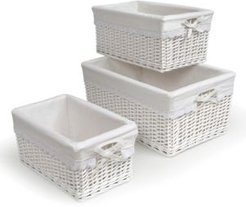 Set of Three Wicker Nursery Baskets with Liners