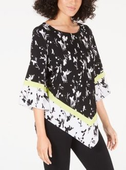 Petite Mixed-Print V-Hem Top, Created for Macy's
