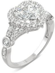 Moissanite Heart Halo Ring 1-3/4 ct. t.w. Diamond Equivalent in 14k White Gold
