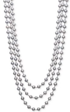 """Gray Cultured Freshwater Pearl (6mm) Triple Strand 18"""" Statement Necklace in Sterling Silver"""
