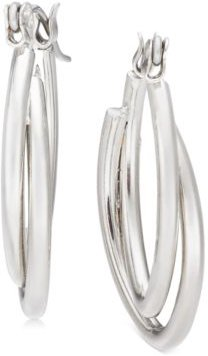 "Silver-Tone Small Double Hoop Earrings, 1"", Created For Macy's"
