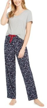 V-Neck Top & Matching Novelty Pajama Pants, Online Only