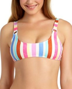 Juniors' Striped Ring Bralette Bikini Top, Available in D/Dd, Created For Macy's Women's Swimsuit
