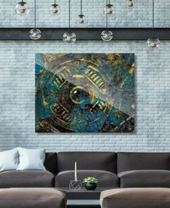 """Encrusted Industrial Onlooker in Canary Abstract 16"""" x 20"""" Acrylic Wall Art Print"""