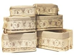 Set of 6 Rectangular Rattan Storage Baskets with Embroidered Liners