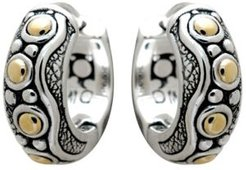 Bali Heritage Classic Sterling Silver Hoop Earrings Embellished by 18K Gold Accents