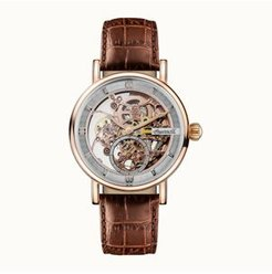 Herald Automatic with Rose Gold Ip Stainless Steel Case, Skeleton Dial and Brown Croco Embossed Leather Strap