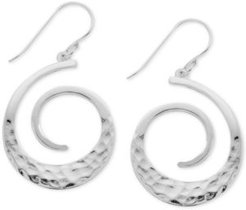 Textured Swirl Drop Earrings in Fine Silver-Plate