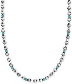 "Turquoise & Polished Bead Statement Necklace in Sterling Silver, 24"" + 2"" extender"