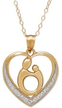 Two-Tone Mother-Themed Heart Pendant Necklace in 10k Gold