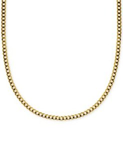 """20"""" Curb Link Chain Necklace (3-1/6mm) in Solid 14k Gold"""