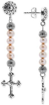 Dyed Freshwater Pearl (4mm) Cross Drop Earrings in Sterling Silver