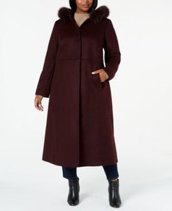 Plus Size Fox-Fur-Trim Hooded Maxi Coat, Created For Macy's