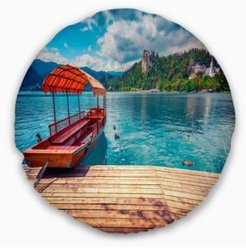 """Boat In Lake Bled In Julian Alps Landscape Printed Throw Pillow - 20"""" Round"""