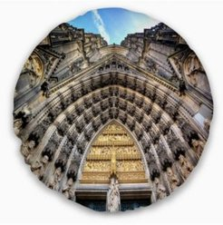 """Facade Of The Dom Church In City Cityscape Art Throw Pillow - 20"""" Round"""