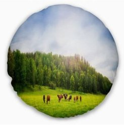 """Cows On Field Panorama Landscape Printed Throw Pillow - 20"""" Round"""