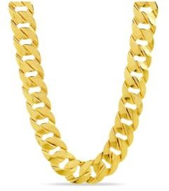 Flat Link Chain Necklace in Yellow Gold-Tone Alloy