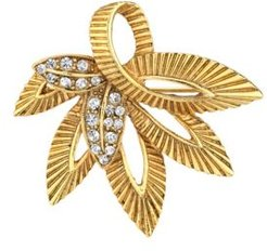 Crystal Accent Leaf Pin