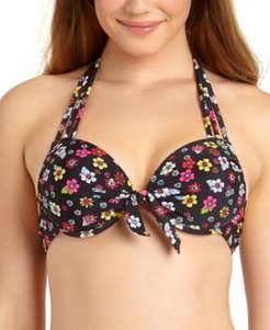 Juniors' Floral-Print Underwire Push-Up Bikini Top, Available in D/Dd, Created For Macy's Women's Swimsuit