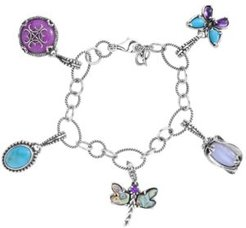 Turquoise, Blue Lace Agate, Abalone Charm Link Bracelet in Sterling Silver